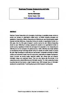 an overview of business process outsourcing with ... - SSRN papers