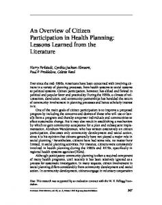 An Overview of Citizen Participation in Health ... - Wiley Online Library