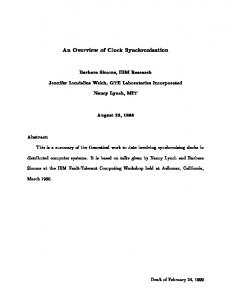 An Overview of Clock Synchronization - TAMU Computer Science ...
