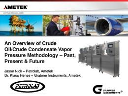 An Overview of Crude Oil/Crude Condensate Vapor Pressure ...