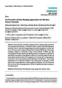 An Overview of Data Routing Approaches for Wireless Sensor ... - MDPI