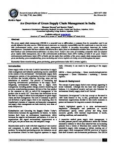 An Overview of Green Supply Chain Management in India - ISCA