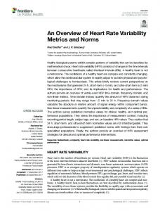 An Overview of Heart Rate Variability Metrics and ... - Semantic Scholar
