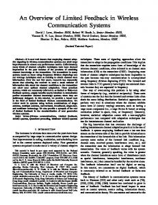 An Overview of Limited Feedback in Wireless Communication Systems