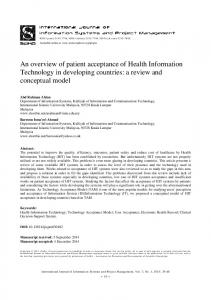 An overview of patient acceptance of Health Information Technology in ...