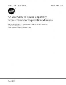 An Overview of Power Capability Requirements for Exploration Missions