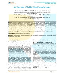 An Overview of Public Cloud Security Issues - International Journal of ...