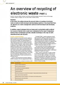An overview of recycling of electronic waste - Mintek