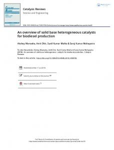 An overview of solid base heterogeneous catalysts for