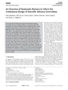 An Overview of Systematic Reviews to Inform ... - Wiley Online Library