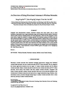An Overview of Using Directional Antennas in Wireless ... - CiteSeerX
