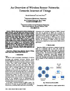 An overview of Wireless Sensor Networks towards internet of things ...