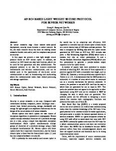 an rc4 based light weight secure protocol for sensor ... - CiteSeerX