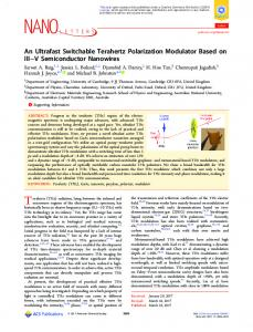 An Ultrafast Switchable Terahertz Polarization ... - ACS Publications