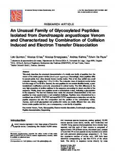 An Unusual Family of Glycosylated Peptides Isolated ... - Springer Link