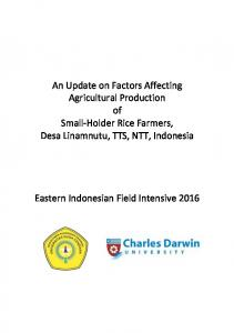 An Update on Factors Affecting Agricultural