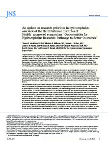 An update on research priorities in hydrocephalus