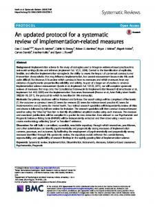 An updated protocol for a systematic review of ... - Systematic Reviews