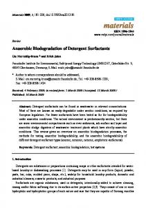 Anaerobic Biodegradation of Detergent Surfactants - CiteSeerX