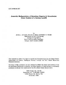 Anaerobic Biodegradation of Hazardous Organics ... - NCSU Repository