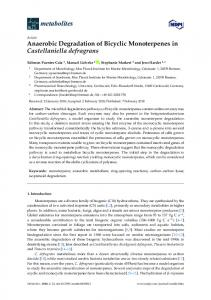 Anaerobic Degradation of Bicyclic Monoterpenes in ... - MDPI