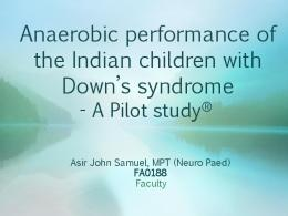 Anaerobic performance of the Indian children with