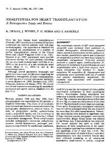 ANAESTHESIA FOR HEART TRANSPLANTATION