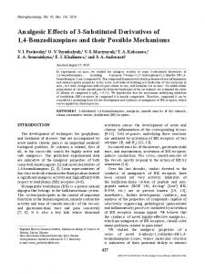 Analgesic Effects of 3-Substituted Derivatives of 1,4-Benzodiazepines ...