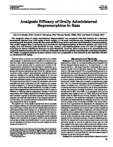 Analgesic Efficacy of Orally Administered Buprenorphine ... - Cogprints