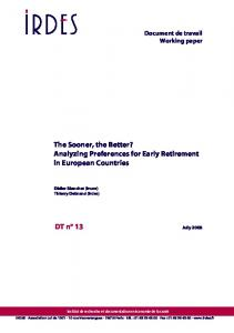 Analizing preferences for early retirement in European countries - Core