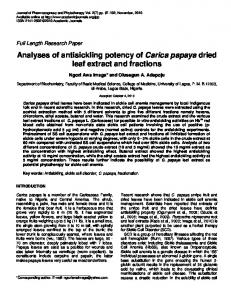 Analyses of antisickling potency of Carica papaya dried leaf extract