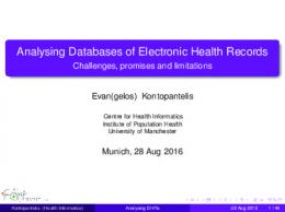 Analysing Databases of Electronic Health Records