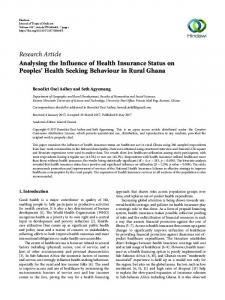 Analysing the Influence of Health Insurance Status on Peoples' Health ...