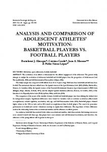 ANALYSIS AND COMPARISON OF ADOLESCENT ATHLETES ...