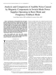 Analysis and Comparison of Audible Noise Caused by Magnetic ...