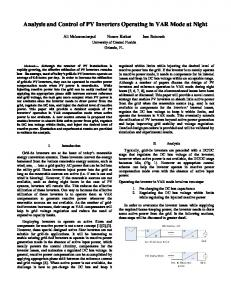 Analysis and Control of PV Inverters Operating in VAR ... - CiteSeerX