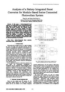 Analysis of a battery-integrated boost converter for ... - IEEE Xplore