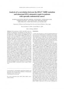 Analysis of a correlation between the BRAF V600E mutation and ...