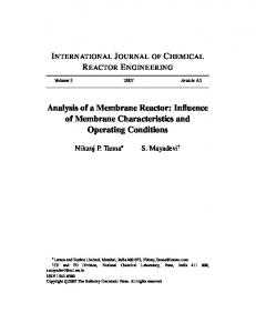 Analysis of a Membrane Reactor: Influence of Membrane ... - CiteSeerX