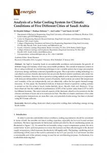 Analysis of a Solar Cooling System for Climatic ... - Semantic Scholar
