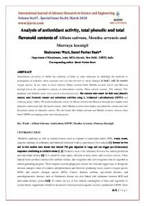 Analysis of antioxidant activity, total phenolic and total ... - IJARSE