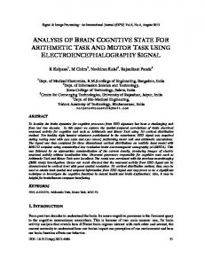 analysis of brain cognitive state for arithmetic ... - Aircc Digital Library