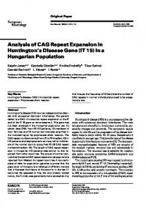 Analysis of CAG Repeat Expansion in Huntington's