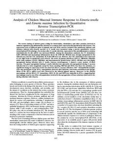 Analysis of Chicken Mucosal Immune Response to Eimeria tenella ...