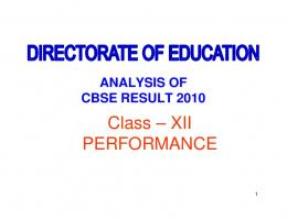 Analysis of Class-XII Result (2010)