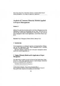 Analysis of Common Maturity Models Applied to Project Management