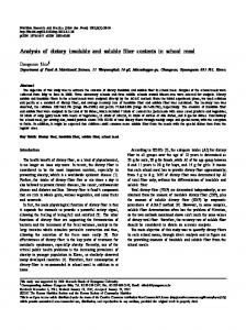 Analysis of dietary insoluble and soluble fiber