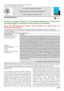 Analysis of economic valuation of environmental damage due to sand