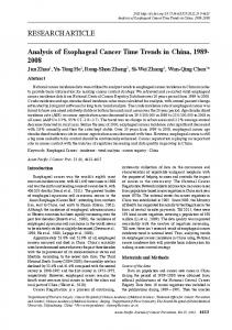 Analysis of Esophageal Cancer Time Trends in China, 1989