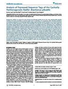 Analysis of Expressed Sequence Tags of the Cyclically ... - PLOS